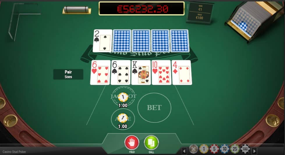 Online Caribbean Stud Pokertafel